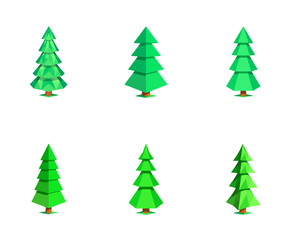 Set different low polygon 3D fir-trees isolated on white background. Stylized ecologic nature collection