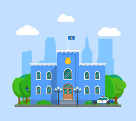 Police station with police sign. Landscape with city police department brick blue building and police car. Infographic element. Flat style vector illustration