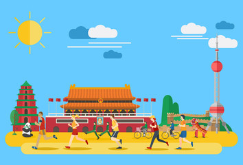 Flat design, group of people running in China