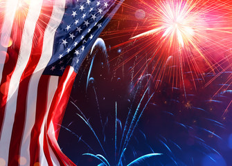 Wall Mural - American Celebration - Usa Flag With Fireworks