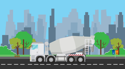 mixer truck single isolated on the way with trees and city as background vector graphic illustration