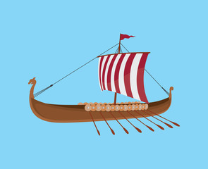 viking boat with blue background and red white sail vector graphic illustration