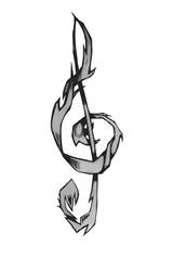 Beautiful treble clef. Treble clef unusual shape.