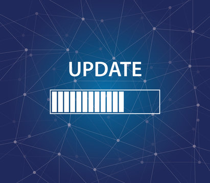 update progress bar on time process blue background galaxy vector graphic illustration