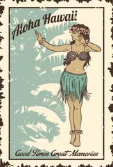 Vintage hula girl dancing on the beach