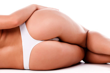 Sexy female ass, isolated on a white background