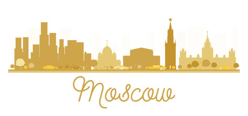 Moscow City skyline golden silhouette.