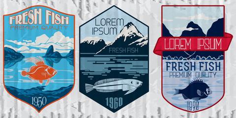 Vintage set of fish - vector. Logo, badge or label design template.