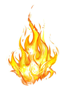 Fire on a white background. Beautiful watercolor flames.
