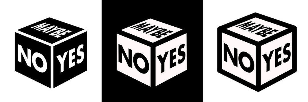 Cube with signs YES, NO, MAYBE. Metaphor of irresolution and indecision or expression of chance to succeed and fail. Tool to get over hesitation and do positive or negative decision