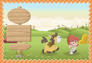 Card with a wooden signs. Cartoon boy playing with a dog on a green park.