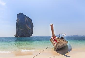 longtail boat on the beach at po da island, krabi Thailand