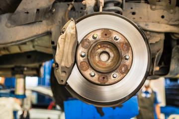 disc brake system on car maintenance suspension