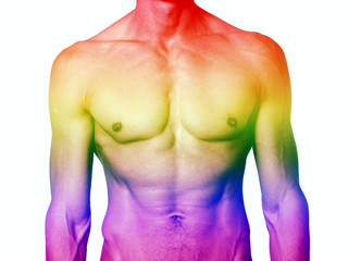 muscular male torso with rainbow colors for gay pride