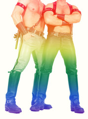two leathermen with the rainbow colors for gay pride