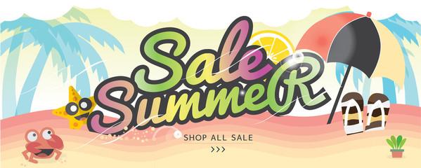 Summer Holiday Banner Summer Vacation Concept Vector Illustration.