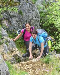 Klettereinlage beim Wandern
