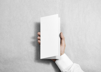 Hand holding blank white flyer brochure booklet in the hand. Leaflet presentation. Pamphlet hold hand. Man show fold offset paper. Sheet template. Booklet design. Paper sheet display read first person