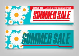 Summer Sale. Flyer Template Design. Vector Illustration