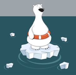 Cartoon polar bear standing on ice floe in the water. Danger of melting ice and climate change