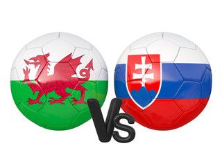 Wales / Slovakia soccer game 3d illustration