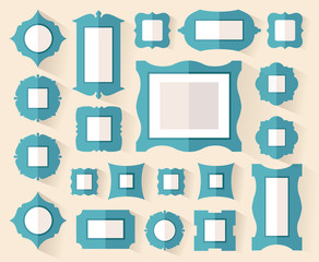 A set of frames of different shapes. Options for placing the pictures on the wall. Vector illustration in flat style.