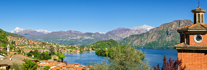 Lago di Como high definition panorama with Ossuccio and Isola Comacina