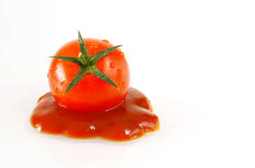 Tomato and ketchup with white background.