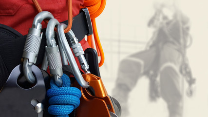 Rope access equipments on inspector man