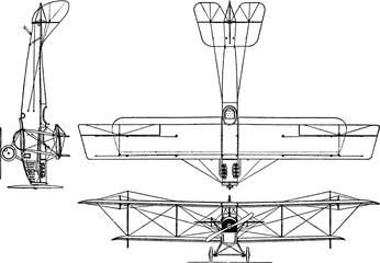Vintage drawing airplane