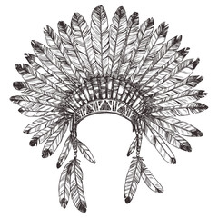 Hand Drawn Native American Indian Headdress. Vector Monochrome Illustration Of Indian Tribal Chief Feather Hat