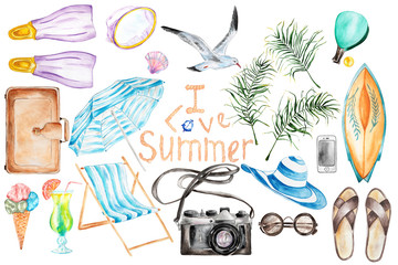 Summer`s vacation hand drawn watercolor set.Isolated objects.