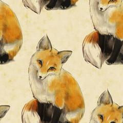 Seamless texture. Very nice cute fox. Fox sitting.