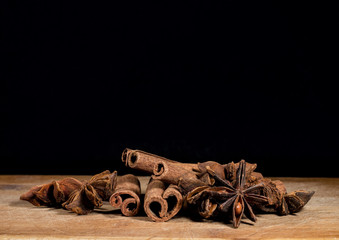 cinnamon spice on a wooden background