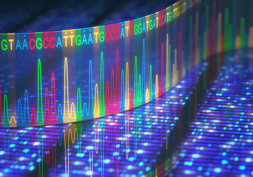 Sanger Sequencing. 3D illustration of a method of DNA sequencing.