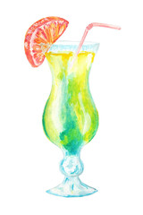 Hand drawn watercolor coctail isolated on white background.