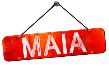 Maia, 3D rendering, a red hanging sign