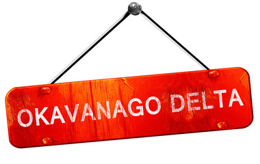 Okavanago delta, 3D rendering, a red hanging sign