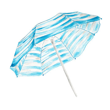 Hand drawn watercolor beach umbrella  isolated on white backgrou