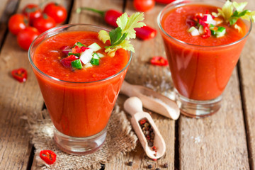 Tomato soup gazpacho in a glass
