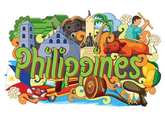 Doodle showing Architecture and Culture of Philippines