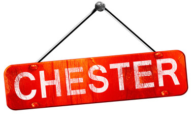 chester, 3D rendering, a red hanging sign Wall mural
