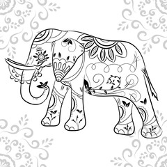 Indian elephant in traditional asian style.