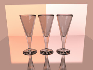 Champagne wine goblets 3D render