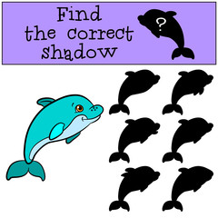 Children games: Find the correct shadow. Cute little baby dolphin swims and smiles.