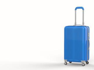 blue luggage on white background