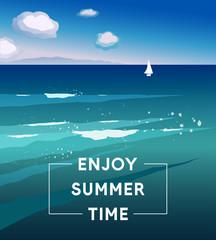 Vector illustration Enjoy Summer Time. Template of summer poster. Summer trendy background. Artistic hand drawn summer card. Creative flat design for poster, card, invitation, placard, brochure, flyer