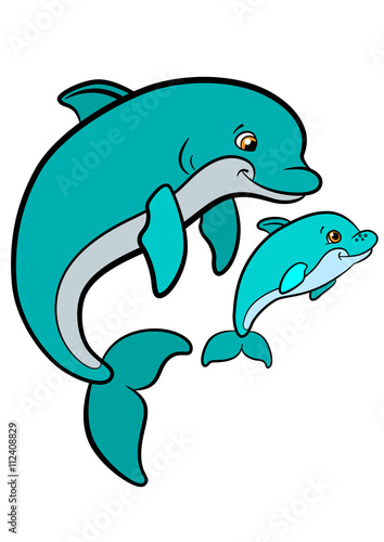 cartoon animals for kids mother dolphin swims with her little cute baby dolphin - Kids Cartoon Animals
