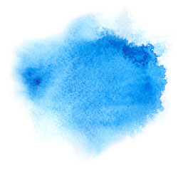 Vivid blue watercolor or ink stain with aquarelle paint blotch