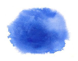 Blue watercolor stain with watercolour paint stroke, blots and wash edges